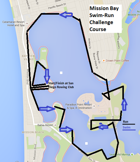 Parcours du Mission Bay swimrun a San Diego, Californie